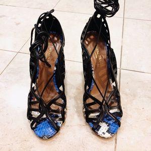 Aquazzura Lola Electric Blue Snakeskin Sandal